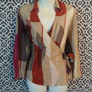 Nic & Zoe Multi Fall Silk Blend Wrap Top Large